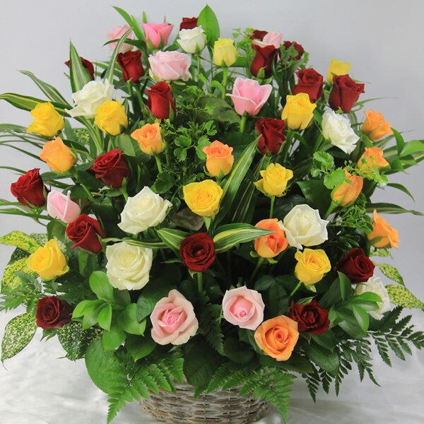 送料無料ミックスカラーのバラ50本のギフト用アレンジ(フラワーアレンジメント)誕生日や発表会、記念日