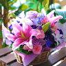 誕生日 花 送料無料 ラブリーパープル フラワーアレンジメント