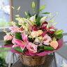 ≪誕生日・花≫ピンクリリーアレンジメント フラワーギフト誕生日・お見舞い花贈りに【品質保証★花】【楽ギフ_メッセ入力】