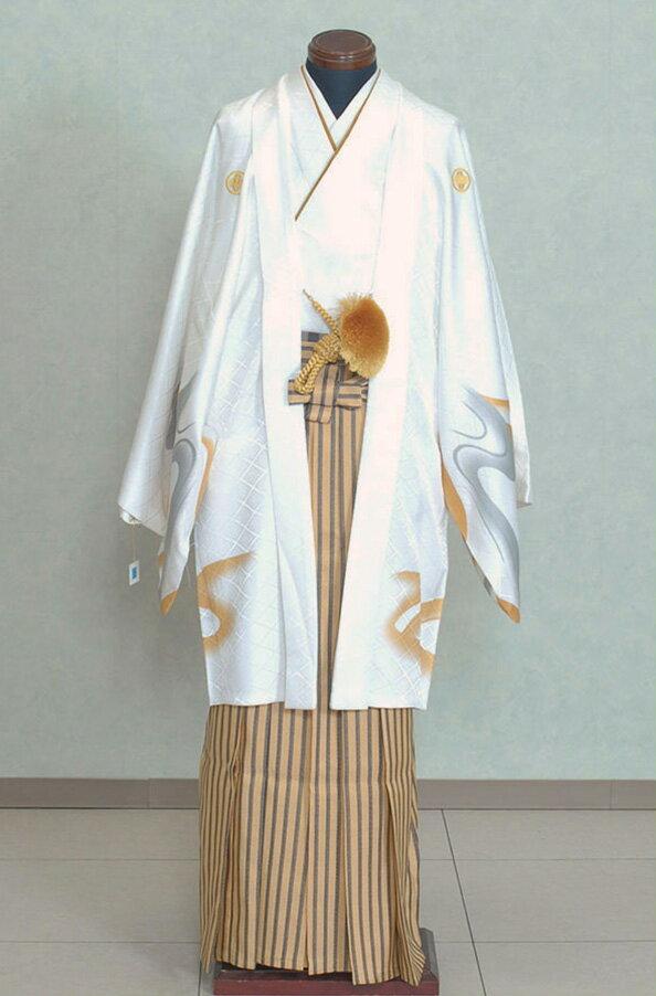 男性用袴 紋付袴レンタル010 白色紋付トラ柄 ...の商品画像