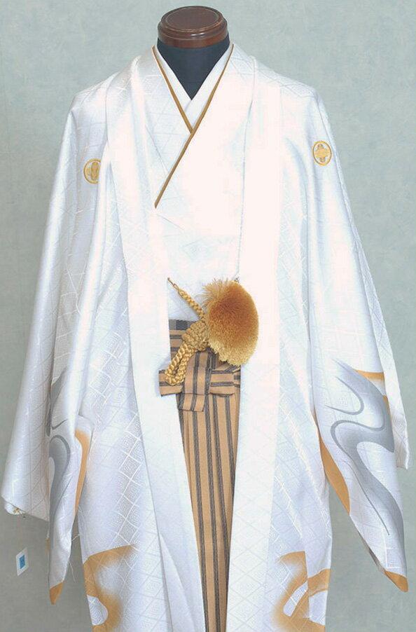 男性用袴 紋付袴レンタル010 白色紋付トラ柄...の紹介画像2