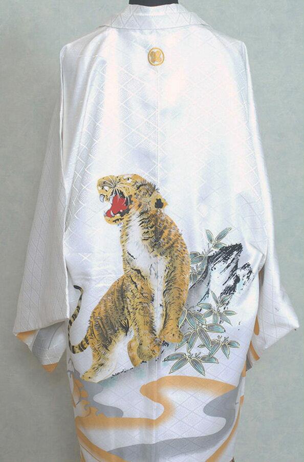 男性用袴 紋付袴レンタル010 白色紋付トラ柄...の紹介画像3