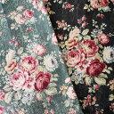綿麻キャンバス Old Rose【50cm単位】花柄/ばら/花もめん セレクト