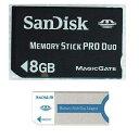 純正新品SanDisk メモリスティックProDuo8GB(黒)+Duoアダプタ(メール便送料160円)