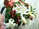 カサブランカ と バラ 花束 プレゼント 誕生日プレゼント 女性 バラ 花束 還暦祝い 母 還暦祝いプレゼント フラワーギフト 本州は 送料無料【楽ギフ_包装】 【smtb-TD】【HLS_DU】