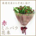 【花】フラワーコンシェルジュが厳選した花屋の赤いミニバラの花束  送料無料  ラッピング メッセージカード付き 【楽ギフ_メッセ入力】【楽ギフ_包装】