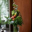 遅れてゴメンね 敬老の日 花束 フラワー 花 かわいい 誕生日 お祝 開店祝い プレゼント バラ クルクマ ユーカリ 夏 ブーケ 送料無料