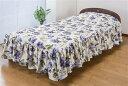 花柄ベッドカバー(フローレンス)ブルー シングル