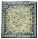 【クラシック柄】い草ラグ カーペット 裏貼有「カノン」 ブルー 大判サイズあり 約230×230cm