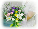 [free shipping] is available from bouquet (entering lily) - Japanese style and the Western style of the offering [for a tray, the equinoctial week and a Buddhist memorial service]; [guarantee of quality  flower] for various Buddhist memorial services including Buddhist mass, anniversary of a death, the moon anniversary of a death [smtb-k] [easy  _ packing] [easy  _ Messe input] [2sp_121122_yellow]