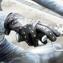楽天ハンドルキング【ラッピング対象品】【新商品】【スマホ対応】Attivo(アッティーヴォ) スタッズ付き ウィンター レザーグローブ 男性用 ブラック/3サイズ 秋冬イタリア産羊革(ラムスキン)/裏地ベルベット [ATKU032]メンズ 手袋 バイク ロック 【D】