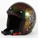 ジャムテックジャパン 72JAM JCP-14 ジェットヘルメット [RASH CROSS/レインボー/FREEサイズ(57-60cm未満)...
