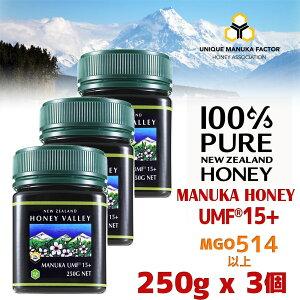 【2月上旬〜中旬頃の出荷】【アクティブ マヌカハニー UMF 15+ *250g MGO514〜828相当】★3個セット 無農薬・無添加ニュージーランド天然蜂蜜/はちみつ ハニーバレー(100% Pure New Zealand Honey)【HLS_DU】【RCP】