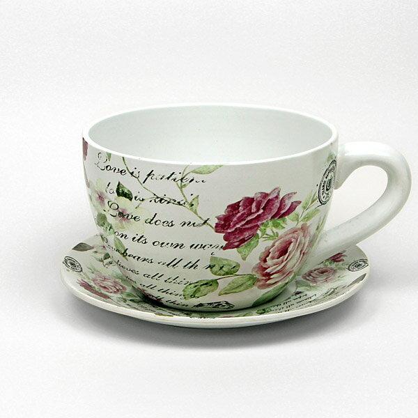 インテリアポット コーヒーカップ型 ローズ L 幅:約26cm (9048774) LN1975ROSE送料別 通常配送
