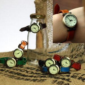 かわいい本革レザーウォッチ レディース アンティーク レトロ ブレスレット アナログ腕時計 watch ゆるかわ アクセサリー 腕輪 森ガール 山ガール 通販 ブラック ブラウン バンド