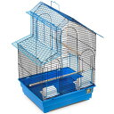 【プレビューペット】屋根の側面がオープンして出入りできるバードケージです。PrevuePet パラキートハウスバードケージ ブルー×ブラック 【小動物 バードケージ 鳥かご 鳥ケージ 小動物 屋外用 屋内用 学校 幼稚園】