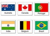 国旗シール【世界 国名 輸入雑貨 英語表記 オーストラリア カナダ ポルトガル インド ベルギー ブラジル】