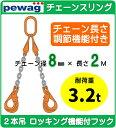PEWAG(ペワッグ)チェーンスリング 2本吊り 3.2t用 8mm×2m セット品 ≪チェーン長さ調節機能付き≫ロッキング機能付フックタイプ【S-WP2-8-2】チェーン径8mm×長さ2m 2点吊り 耐荷重3.2t 吊角度60°以内 スリングチェーン 耐久性バツグン ≪送料無料≫
