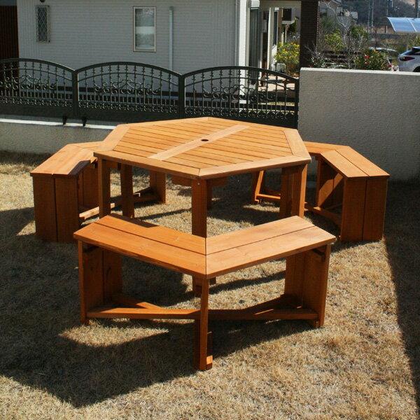 木製六角テーブル&ベンチ 4点セット/バーベキューテーブル ガーデンファニチャーセット B…...:hanwa-ex:10000778