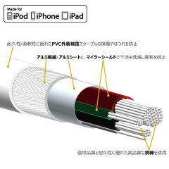 【メール便送料無料】MFI認証1miphone高耐久USBケーブルiphone6Plusiphone5ipadLightning認証品【充電ケーブルコードios8データ転送ライトニングケーブル断線防止ストロングタイプアイフォン6100cmUSB充電器断線補強安いおすすめ】【P25Jan15】