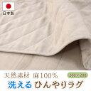 日本製 麻100% 洗えるひんやりラグ 200×200cm ...