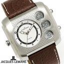 【送料無料】腕時計 メンズ ジャックルマン JACQUES LEMANS 1-1780B マドリード GMT 時計 アナデジ クロノグラフ アナログ デジタル 革ベルト レザー スクエア 多機能 とけい うでどけい ウォッチ watch tokei udedokei