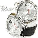 腕時計 ディズニー Disney ミッキーマウス Mickey Mouse ユニセックス メンズ レディース 革ベルト レザー キュービックジルコニア ビッグケ...