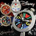 ミッキーマウス 腕時計 レディース ディズニー Disney ミッキー Mickey Mouse ラインストーン 革ベルト レザー ガガミラノ風 GaGa Mi...