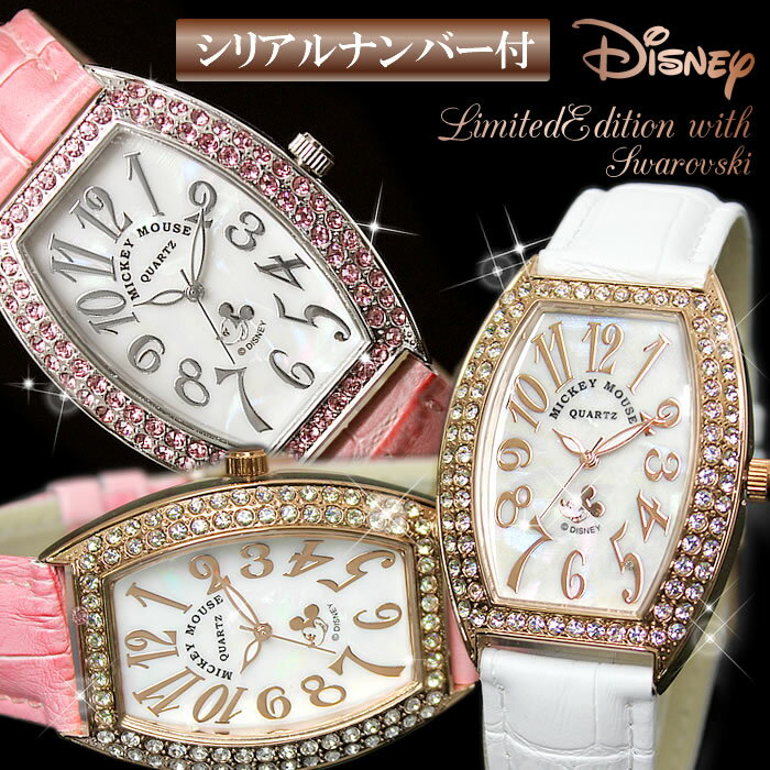 Disney ディズニー 腕時計 レディース 時計 ミッキー MICKEY MOUSE ミッキーマウス トノー型 レクタングル 革ベルト スワロフスキー 人気 激安 プレゼント ギフト WATCH うでどけい とけい【腕時計】【レディース】【Disney/ディズニー】