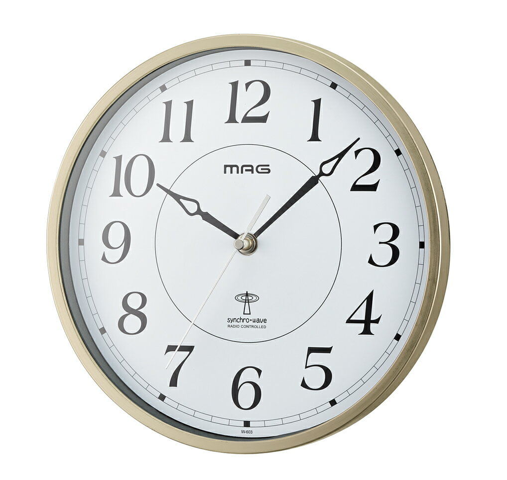 時計 掛け時計 電波時計 アナログ W-603-CGM 時計 プレゼント ギフト ゴールド ホワイト 白 ノア精密 NOA MAG マグ【時計】【クロック】【インテリア】
