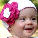 RuffleButts/ラッフルバッツベビー&キッズ帽子即日配送/メール便可コットンニット帽子ホワイト/ピンクフラワーお誕生日