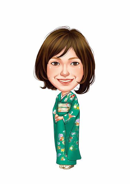 似顔絵用衣装 〜振袖(緑)〜  ※ご注意:当店似顔絵のオプション商品です。衣装単体ではご注文いただけません!