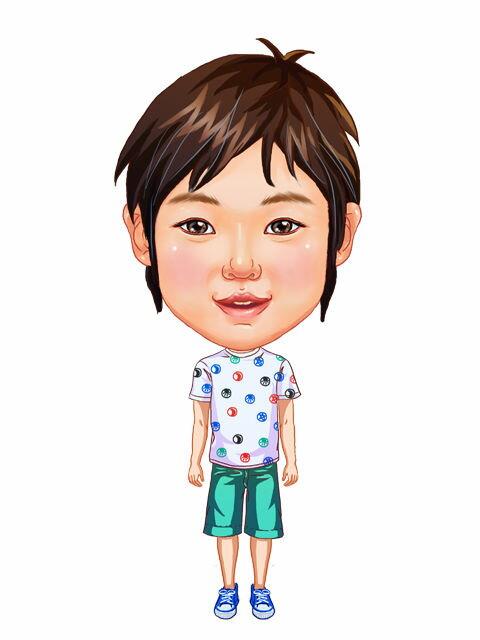 似顔絵用衣装 〜男児用衣装(水玉Tシャツ&青ハーフパンツ)〜  ※ご注意:当店似顔絵のオプション商品です。衣装単体ではご注文いただけません!