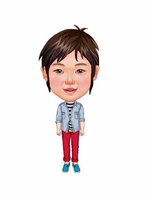 似顔絵用衣装 〜男児用衣装(デニムシャツ&レッドパンツ)〜  ※ご注意:当店似顔絵のオプション商品です。衣装単体ではご注文いただけません!