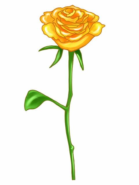 似顔絵用〜薔薇一輪 黄色〜 ※ご注意:当店似顔絵のオプション商品です。この商品単体ではご注文いただけません。