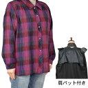 ウール混格子ブラウス05 フリー/LL シニアファッション 婦人服