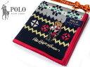 39 POLO RALPH LAUREN ポロ ラルフローレン ハンカチ ノルディック柄 ネイビー ポロベア刺繍 綿100% 日本製 50cm メンズ レディス