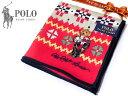 40 POLO RALPH LAUREN ポロ ラルフローレン ハンカチ ノルディック柄 レッド ポロベア刺繍 綿100% 日本製 50cm メンズ レディス