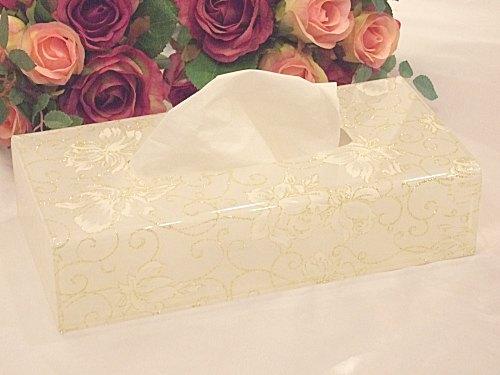 【薔薇雑貨】【バラ雑貨】【姫系雑貨】薔薇のアクリルティッシュボックス(ホワイトラメローズ:B)薔薇 ティッシュボックスカバー