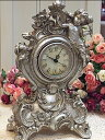 Table clock (silver) of the antiqued rose and angel