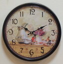 [the wall clock of the free shipping 】★ antique brown ★ rose:] Room