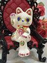 ラインストーンのデコレーションがかわいい♪お座り招き猫:ホワイト 商売繁盛 開店祝い 合格祈願 御祝 内祝 縁起物 デコ 招き猫 置物 【HLS_DU】