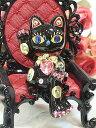 ラインストーンのデコレーションがかわいい♪お座り招き猫:ブラック 商売繁盛 開店祝い 合格祈願 御祝 内祝 縁起物 デコ 招き猫 置物 【HLS_DU】