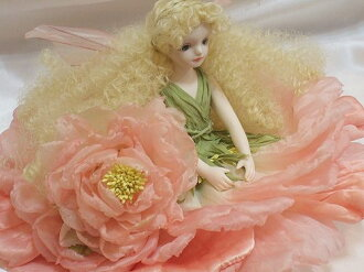 Wakatsuki Marin child flower fairy doll! エルフィンフローリー: old rose (Pink) Bisque dolls fairy flower fairy doll gift festive keepsake pottery