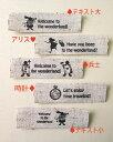 ショッピングリネン ワンピース 横細リネン・プリントタグ【不思議の国のアリス】