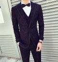 おしゃれメンズスーツ 高級感 セットアップ 長袖スーツ タキシード 一つボタン 細身 礼服 紳士服 通勤 オフィス ビジネス セレモニー フォーマル カジュアル 結婚式 二次会 お呼ばれ パーティー サイズ有M-3XL ジャケット+パンツ 2点セット 格好いい!品質良い!
