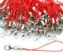 カニカン付きストラップ 100本 赤色紐×銀 レッド ストラップパーツ アクセサリー レジン ハッピークラフト/HAPPYCRAFT