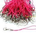 カニカン付きストラップ 100本 濃ピンク紐×銀 ホワイト ストラップパーツ アクセサリー レジン ハッピークラフト/HAPPYCRAFT