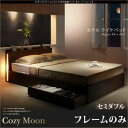 【ポイント20倍】収納ベッド セミダブル【Cozy Moon】【フレームのみ】ウォルナットブラウン スリムモダンライト付き収納ベッド【Cozy Moon】コージームーン【代引不可】