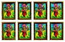インドの神様ドゥルガーのキラキラミニステッカー!8枚組/エスニック/アジアン雑貨(DM便選択で送料99円)